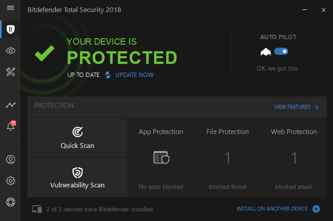 Bitdefender 2018's main screen