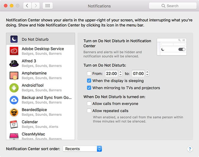 macOS Notifications Preferences