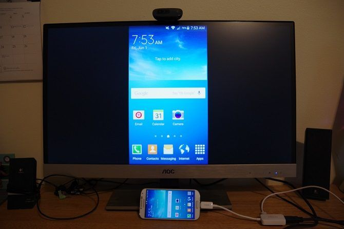 How to Connect Your Phone to Your TV Using USB - phone mirrored on tv