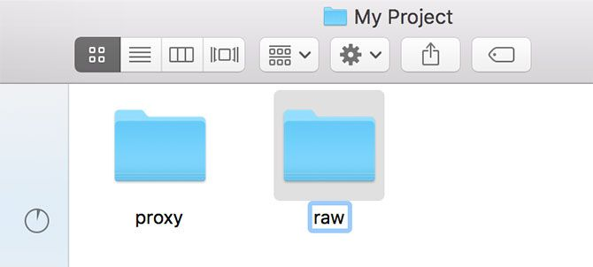 Renaming Proxy and Raw folders in macOS