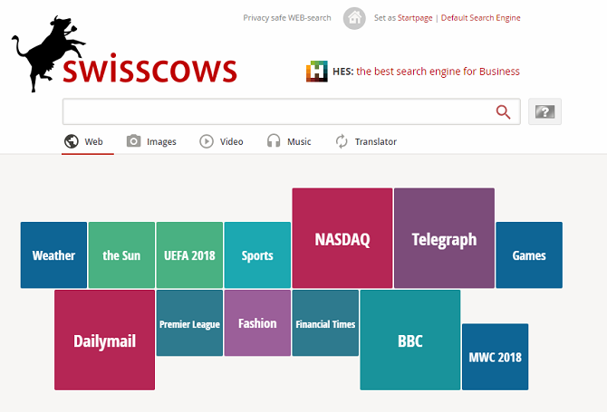 Swisscows search engine tool keeps your web searches private