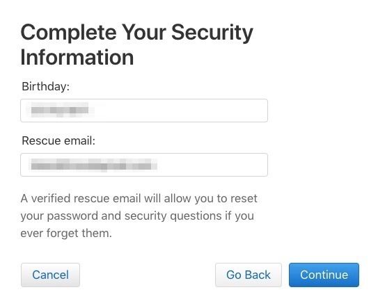 Verify two factor security information Apple