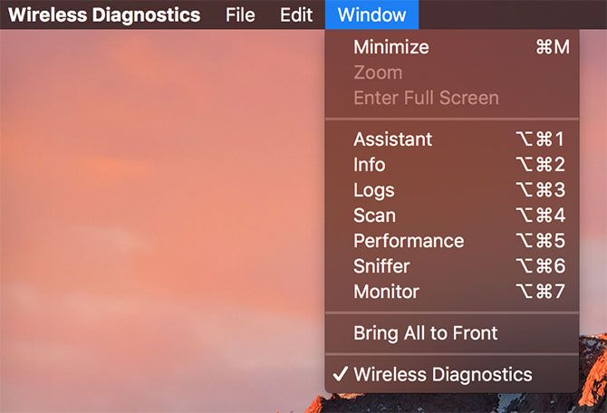 Wireless Diagnostics Window options