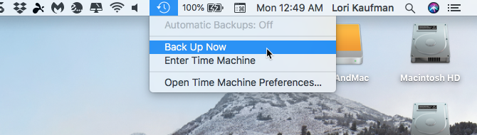 Select Back Up Now Time machine Mac