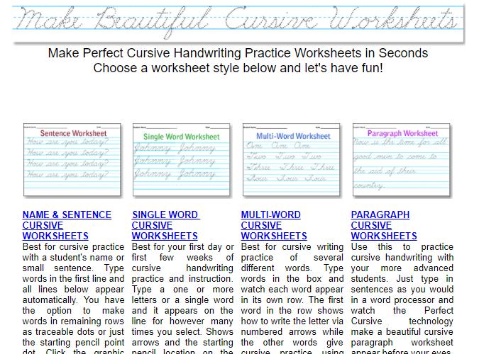 10 Printable Handwriting Worksheets To Practice Cursive