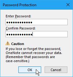 Dijaloški okvir za zaštitu lozinke u OneNote 2016