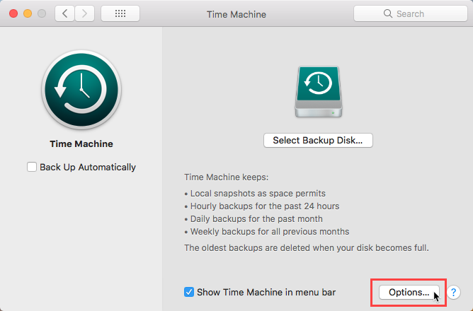 Click Options in Time Machine