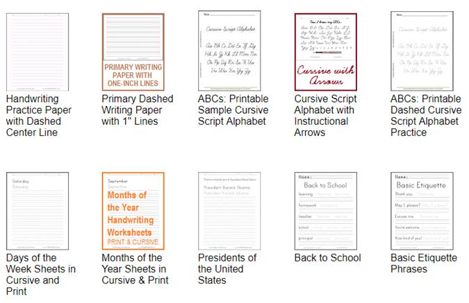 10 druckbare Handschrift-Arbeitsblätter zum Üben von Kursive