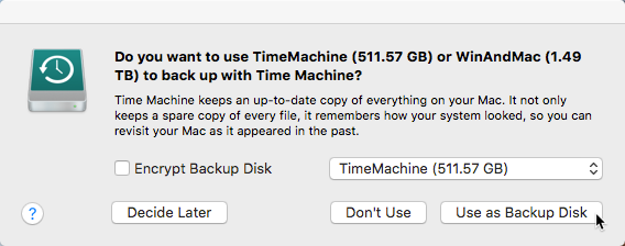 Do you want to use disk as backup? Time Machine Mac