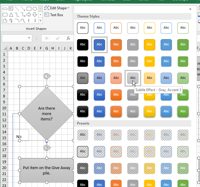 Change the Theme Style for shapes in Excel