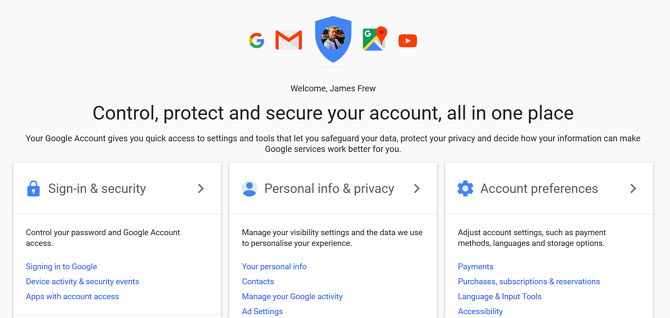Account settings let you control your Google accounts