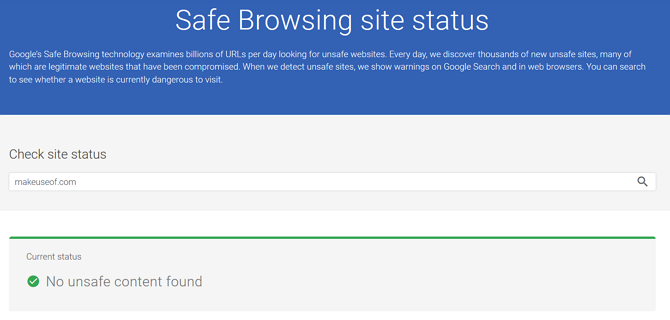 Google's Safe Browsing tool