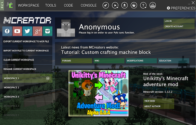 The main screen in MCreator