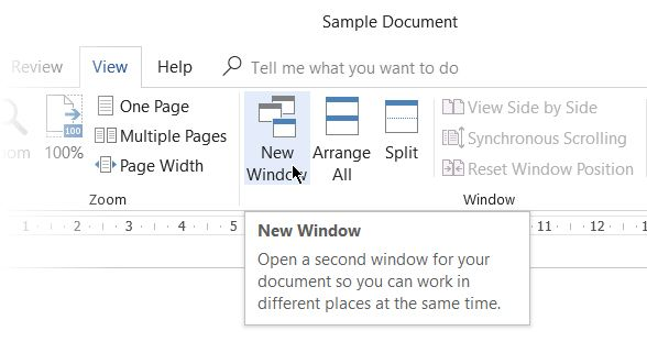 New Window for the same document.