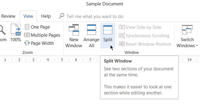 Microsoft Word-Split Window