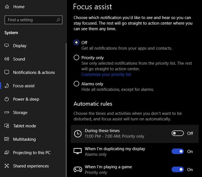 Windows-10-Focus-Assist-Options