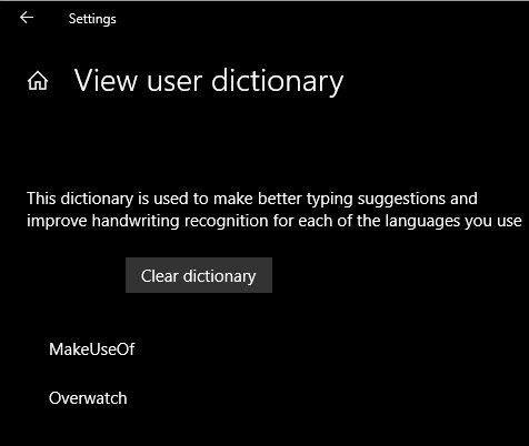 Windows Korisnički rječnik čisto