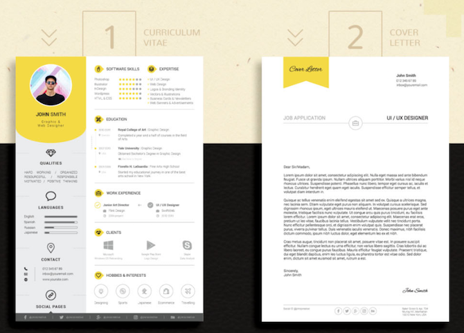 Yellow Indesign Resume Cover Letter Template