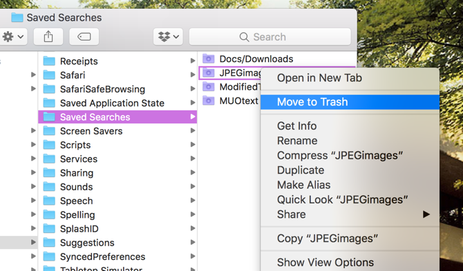 Mac Move Smart Folder to Trash