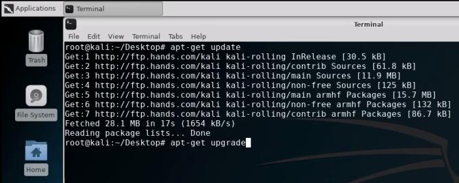 kali linux terminal upgrade