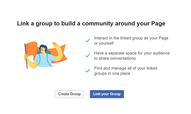how to add a link to a facebook group page