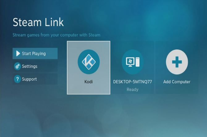 Kodi icon following install on Steam Link