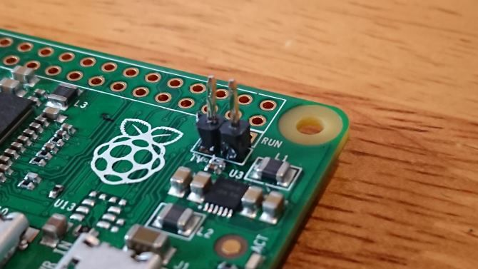 Raspberry Pi Zero with DIY pin header for composite video