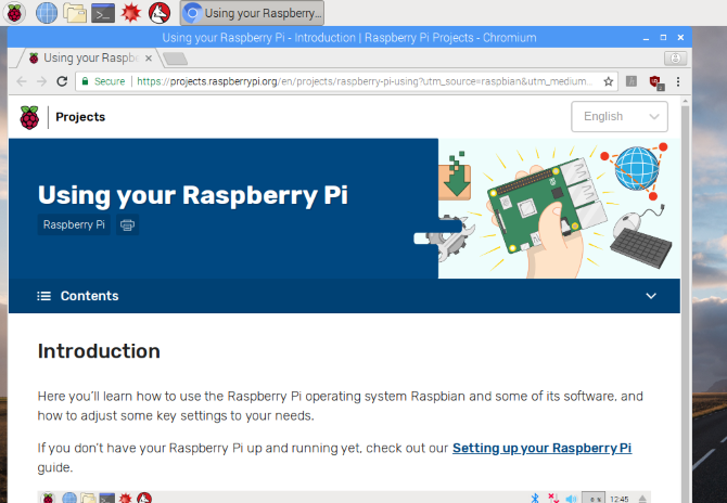 Raspbian includes help files to get you started with Raspberry Pi