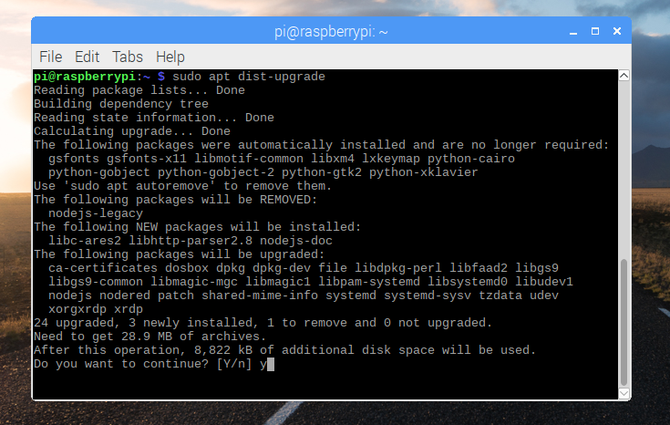 Launch the terminal to upgrade Raspbian