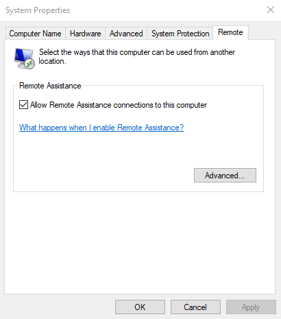 Enable Remote Assistance in Windows 10