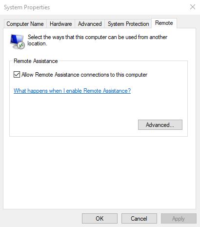Omogućite daljinsku pomoć u sustavu Windows 10