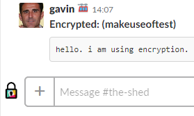 Sent message in Slack, encrypted with Shhlack
