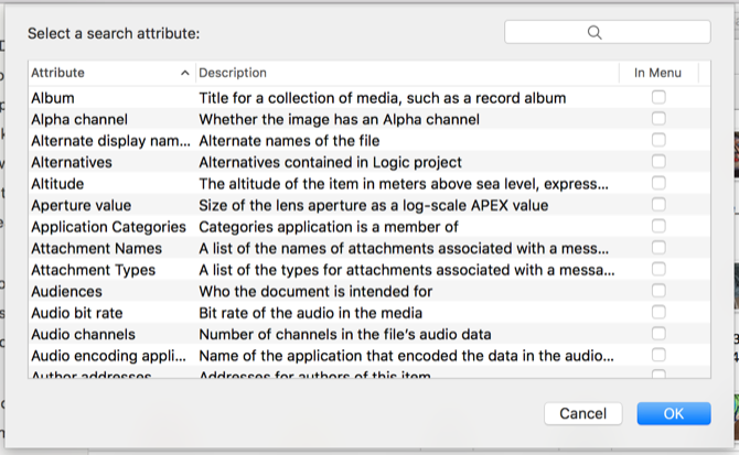 Mac Search Attributes