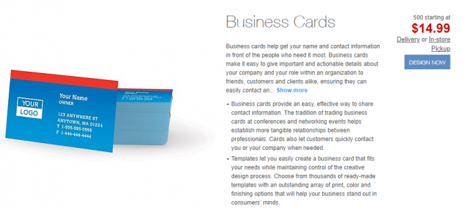 Cheap business cards from Staples