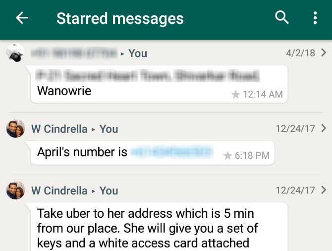 whatsapp starred messages