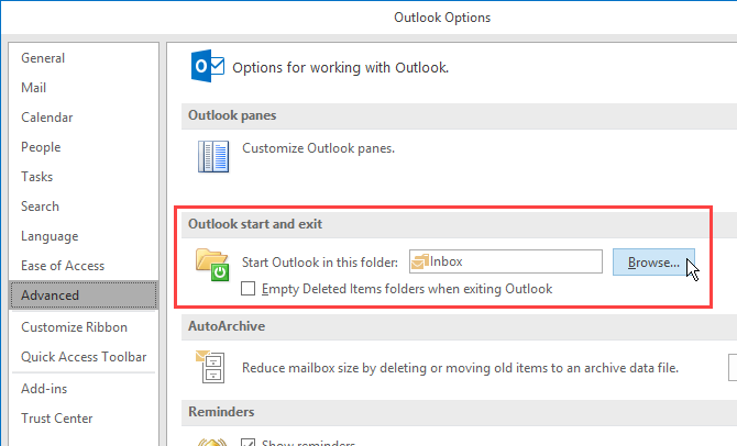 Change which folder opens when you start Outlook
