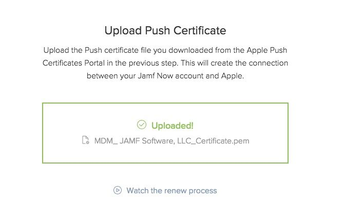 jamf now apple upload push certificate