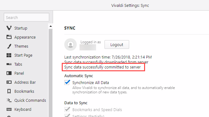 Sync data successfully committed to server in Vivaldi