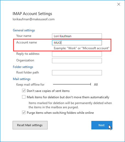 Change an account name in Outlook