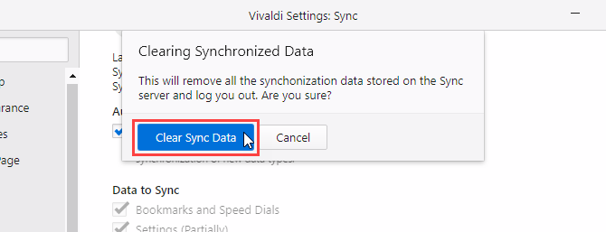 Clearing Synchronized Data dialog box in Vivaldi