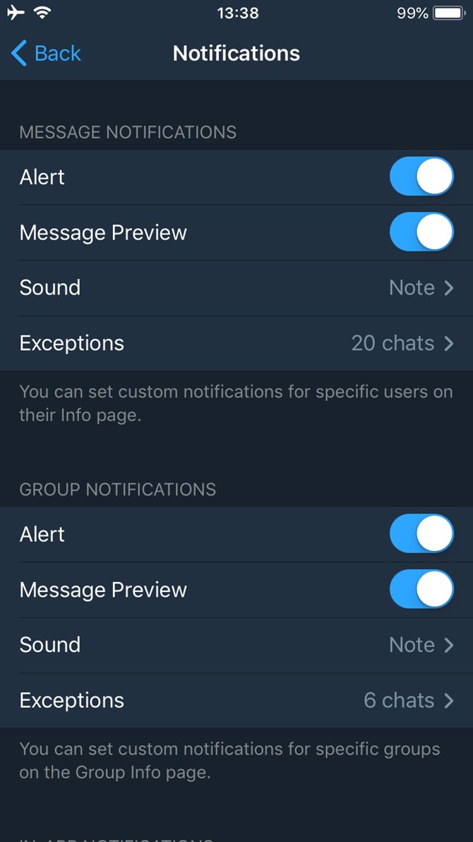 popup notifications chat