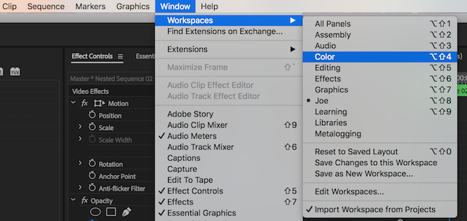 Premiere Color Workspace menu option