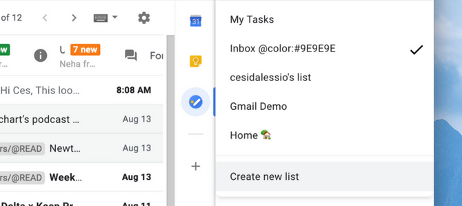 Create a new Task List - Google Tasks