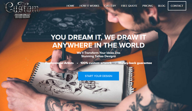 Custom Tattoo Design Homepage