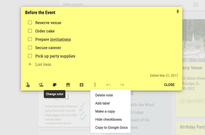 Google Keep Note Features