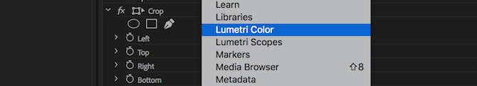 Lumetri Color menu option