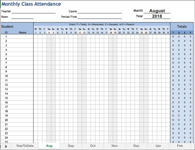 Monthly Attendance Workbook