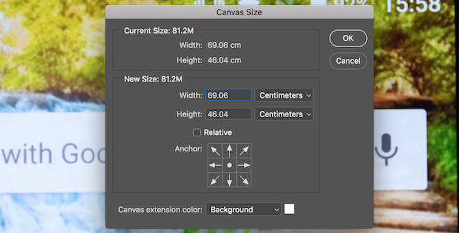 Photoshop canvas size tool