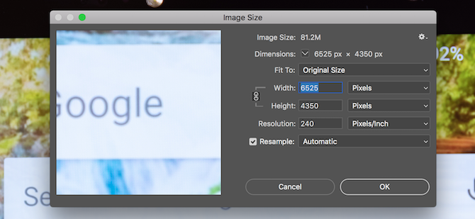 Photoshop image size panel