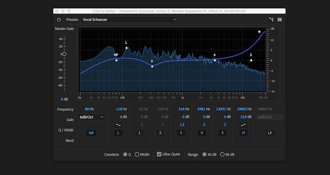 Premiere Pro parametric equalizer effect